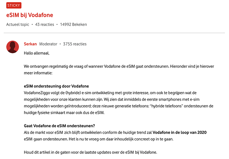 eSIM bij Vodafone